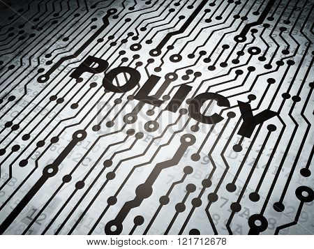 Insurance concept: circuit board with Policy
