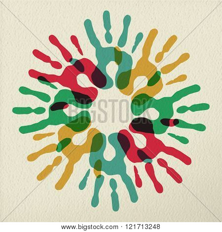 Diversity Group Of Hands Teamwork Color Concept