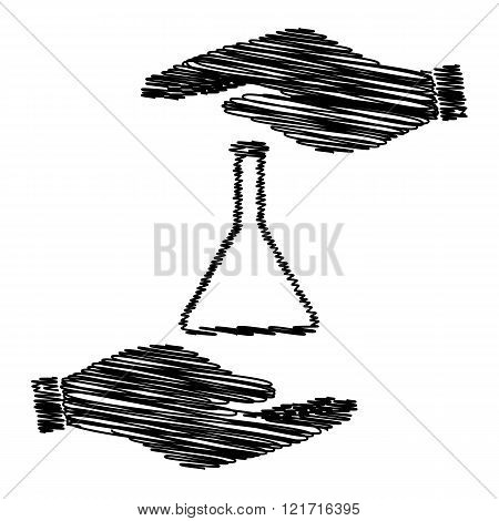Conical Flask sign. Save or protect symbol by hands with scribble effect. poster