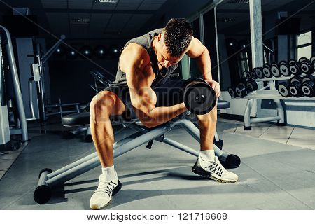 Young man at the gym biceps workout