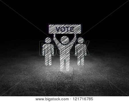 Political concept: Election Campaign in grunge dark room