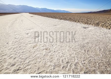 Badwater Basin at sunset, Death Valley National Park, USA