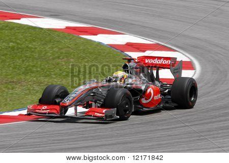 SEPANG, MALAYSIA - APRIL 4: Vodafone McLaren Mercedes Lewis Hamilton does a practice run at the 2009 F1 Petronas Malaysian Grand Prix April 4, 2009 in Sepang, Malaysia.