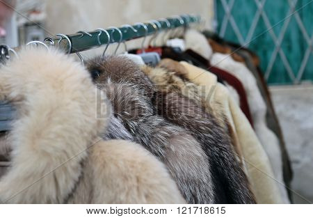 used mink coat and other animals for sale in the flea market