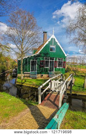 Traditional Dutch House With Canal Close The Amsterdam, Holland