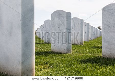 Up-Close View of National Cemetery Headstones in San Diego