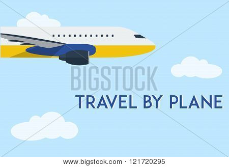 Flying airplane in clear blue sky with clouds. Minimal flat vector illustration for web or print.