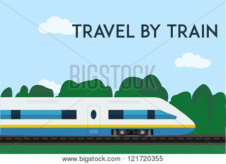 Travel by train poster. Minimal flat vector illustration for web or print.