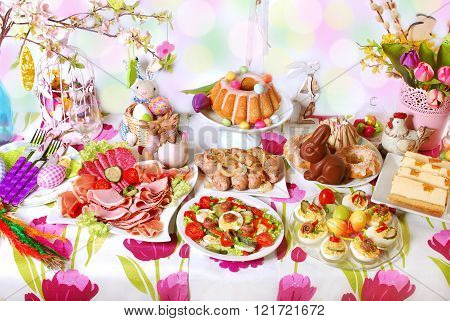 Easter Table With Dishes For Traditional Festive Breakfast