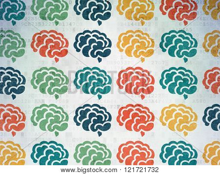 Science concept: Brain icons on Digital Paper background
