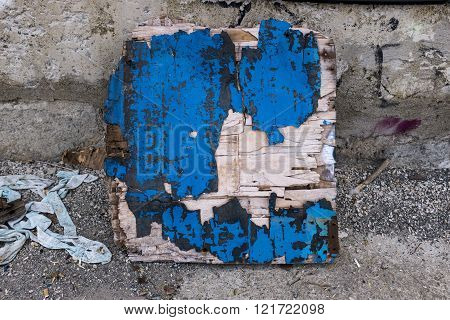 Damaged Wooden Plank With Paint