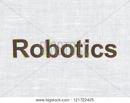 Science concept: Robotics on fabric texture background