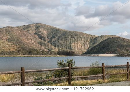 Mountain Range, Reservoir, Lake and Fence