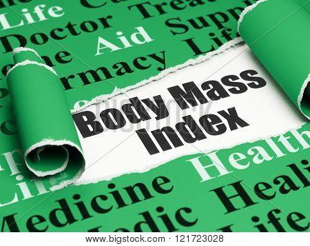 Medicine concept: black text Body Mass Index under the piece of  torn paper