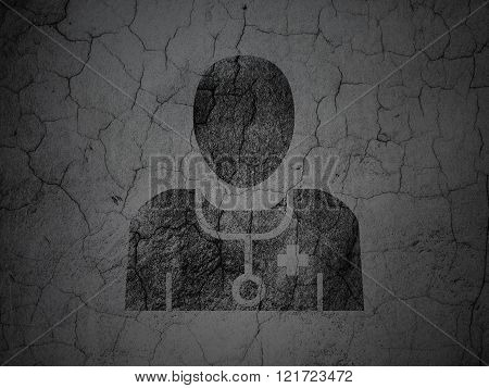 Healthcare concept: Doctor on grunge wall background