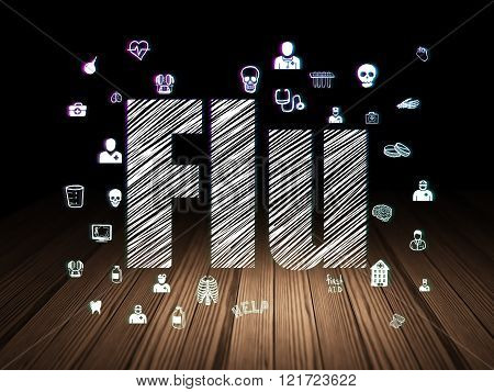 Healthcare concept: Flu in grunge dark room