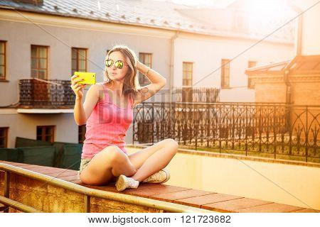 Hipster Girl Taking Selfie Outdoors