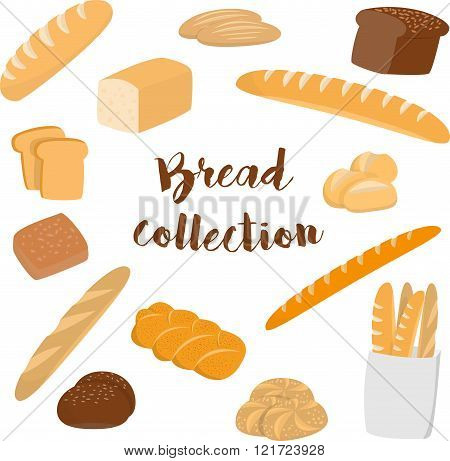 Different kinds of bread isolated on white. Flat vector collection of bakery items for print or web.