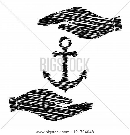 Anchor sign with scribble effect
