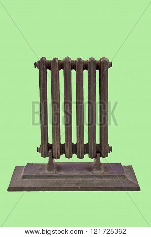 miniature model of a radiator on a green background.