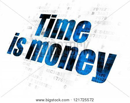 Time concept: Time Is money on Digital background