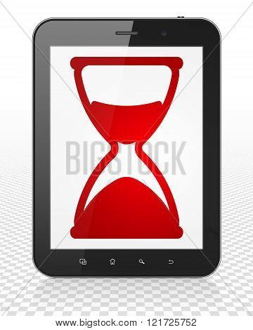 Timeline concept: Tablet Pc Computer with Hourglass on display