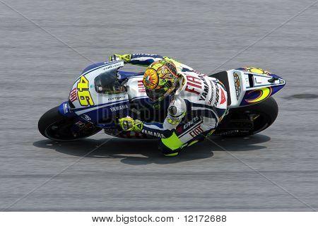 SEPANG, MALAYSIA - OCTOBER 23: Team Fiat Yamaha's Valentina Rossi in a practice run at the 2009 Malaysian MotoGP. October 23, 2009 in Malaysia.