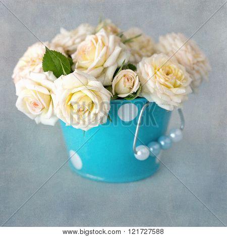 Beautiful fresh cream-colored roses