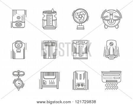 Climate appliances linear vector icons set
