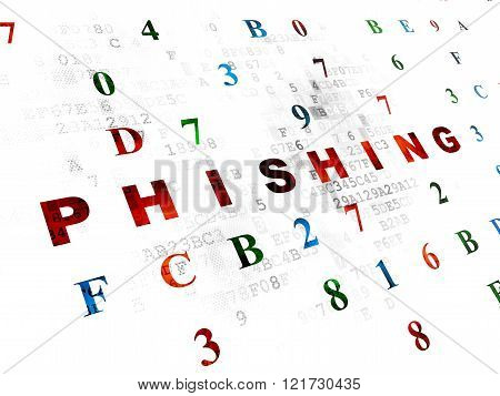 Protection concept: Phishing on Digital background