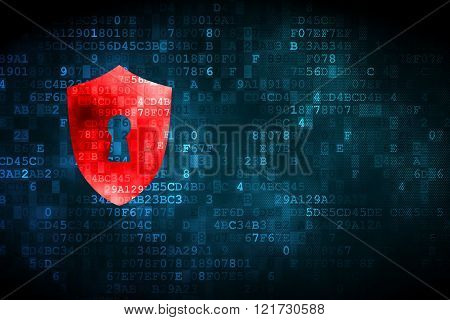 Safety concept: Shield With Keyhole on digital background