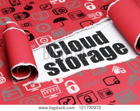 Privacy concept: black text Cloud Storage under the piece of  torn paper