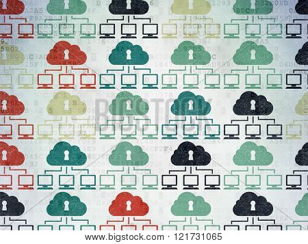 Privacy concept: Cloud Network icons on Digital Paper background
