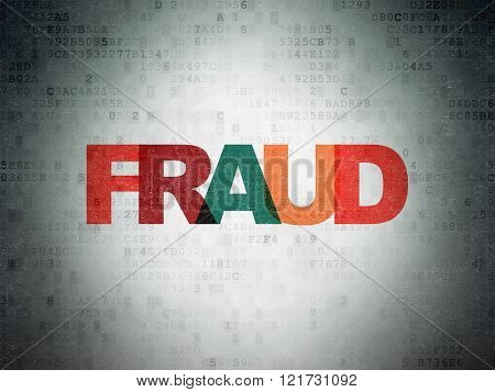 Protection concept: Fraud on Digital Paper background