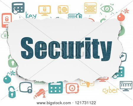 Security concept: Security on Torn Paper background