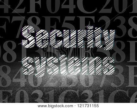 Safety concept: Security Systems in grunge dark room
