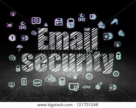 Safety concept: Email Security in grunge dark room
