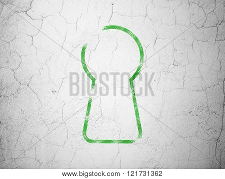 Privacy concept: Keyhole on wall background