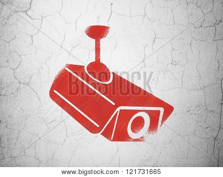 Safety concept: Cctv Camera on wall background