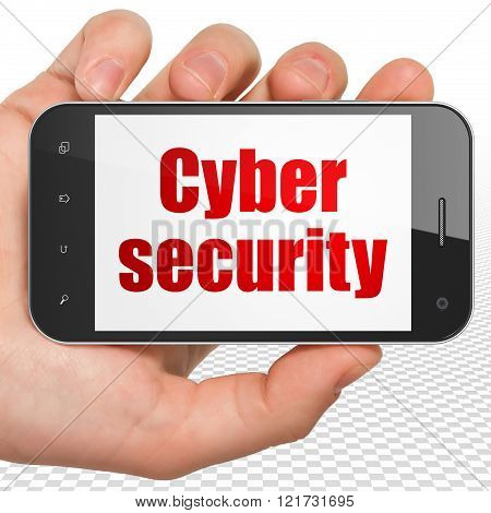 Privacy concept: Hand Holding Smartphone with Cyber Security on display
