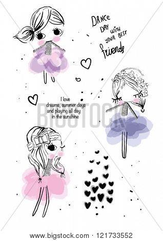 watercolor brush cute  dance girl friends illustration set