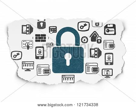 Protection concept: Closed Padlock on Torn Paper background
