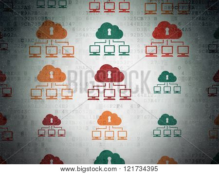 Protection concept: Cloud Network icons on Digital Paper background
