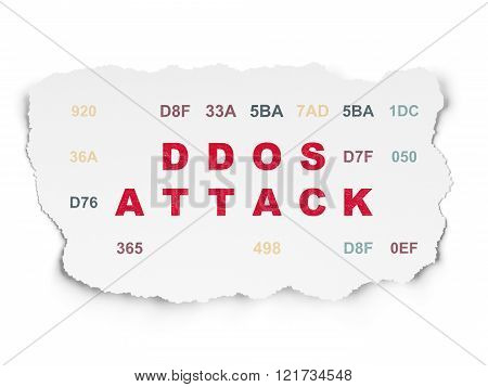 Security concept: DDOS Attack on Torn Paper background