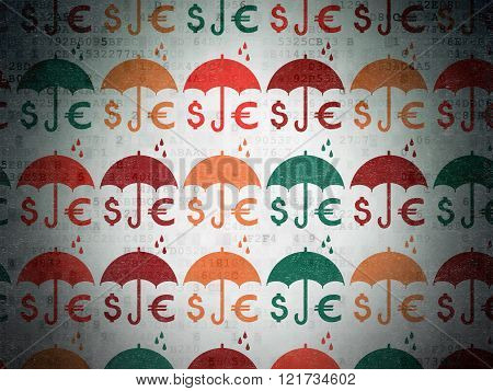 Safety concept: Money And Umbrella icons on Digital Paper background