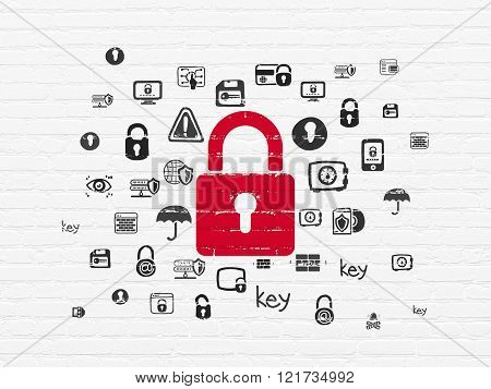 Protection concept: Closed Padlock on wall background