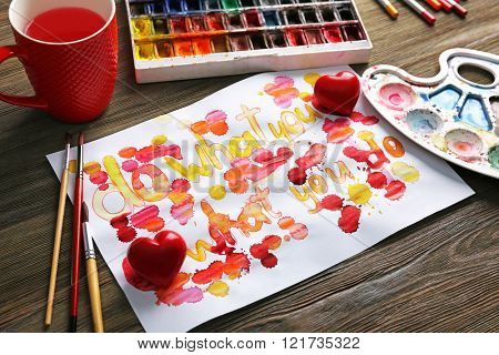 Valentine's Day concept. Beautiful gift card, close up
