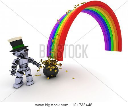 3d render of robot with pot of gold at the end of the rainbow