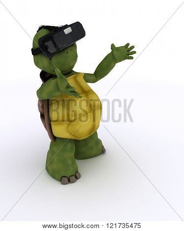 3D render of a tortoise with VR headset