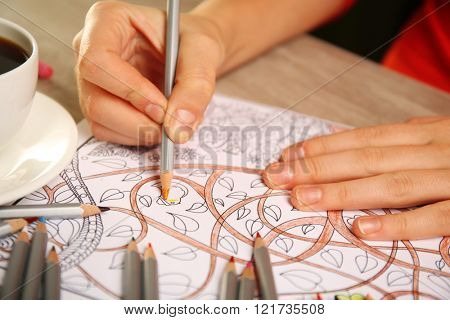 Adult antistress colouring book with pencils